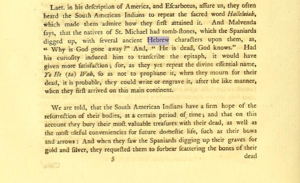 James Adair's 1775 The History of the American Indians, page 214